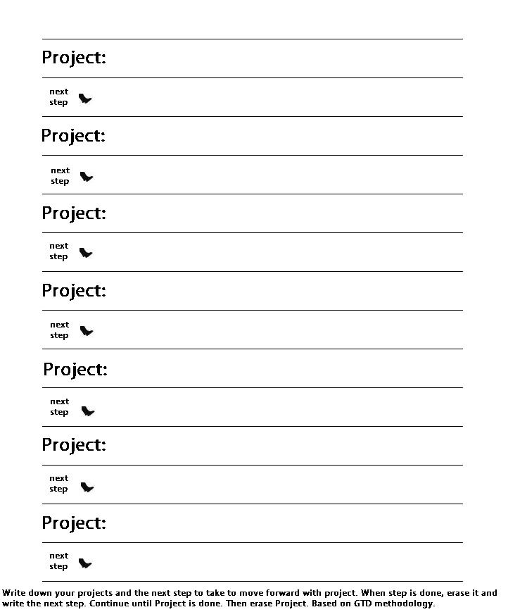 Projects With Next Step Action Template For Penultimate