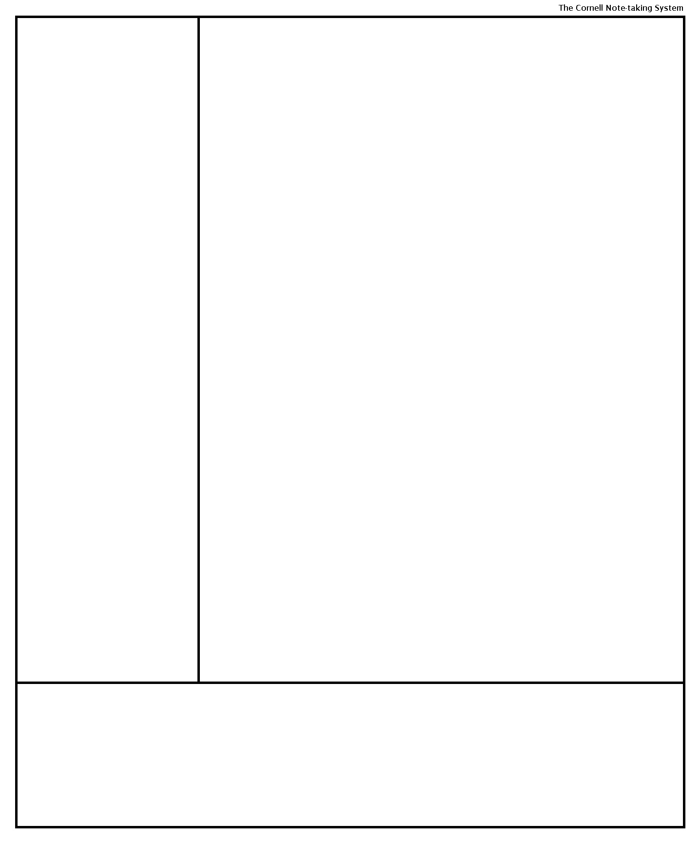 Cornell Note-taking System template template for penultimate