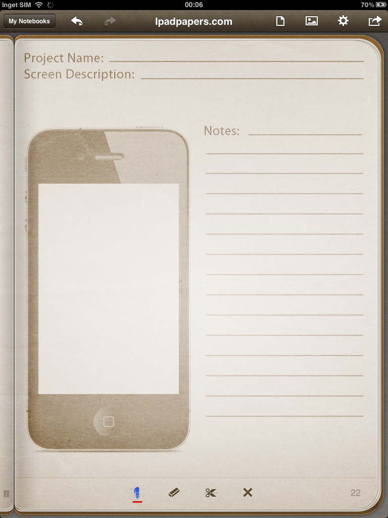 iphone wireframe template for penultimate