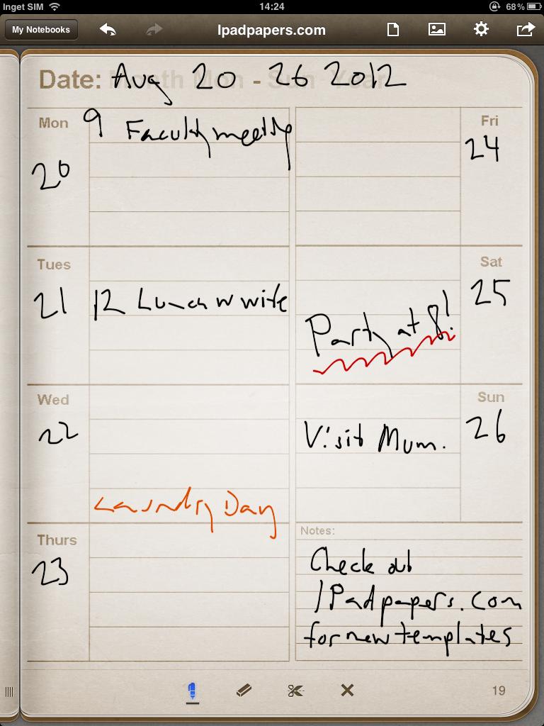 One Week Calendar Weekly calendar click to see